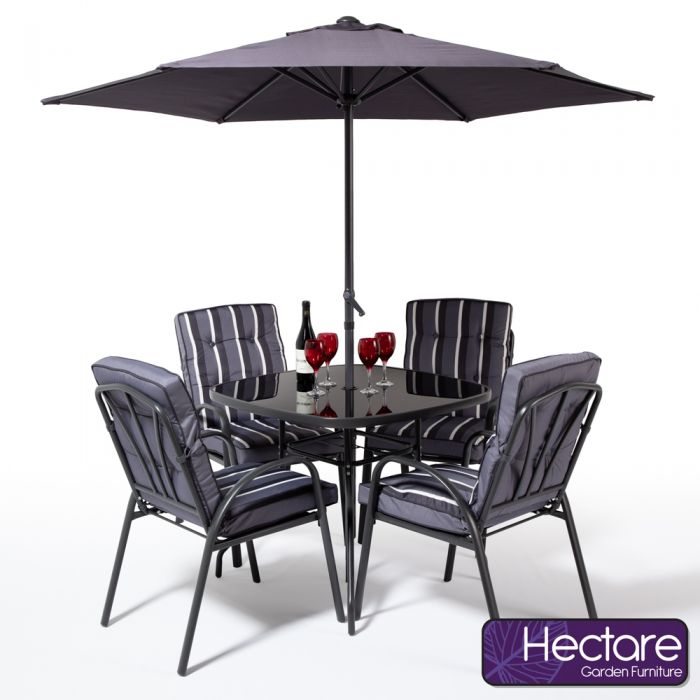 Hadleigh 4 Seater Garden Dining Furniture Set In Grey By Hectare™
