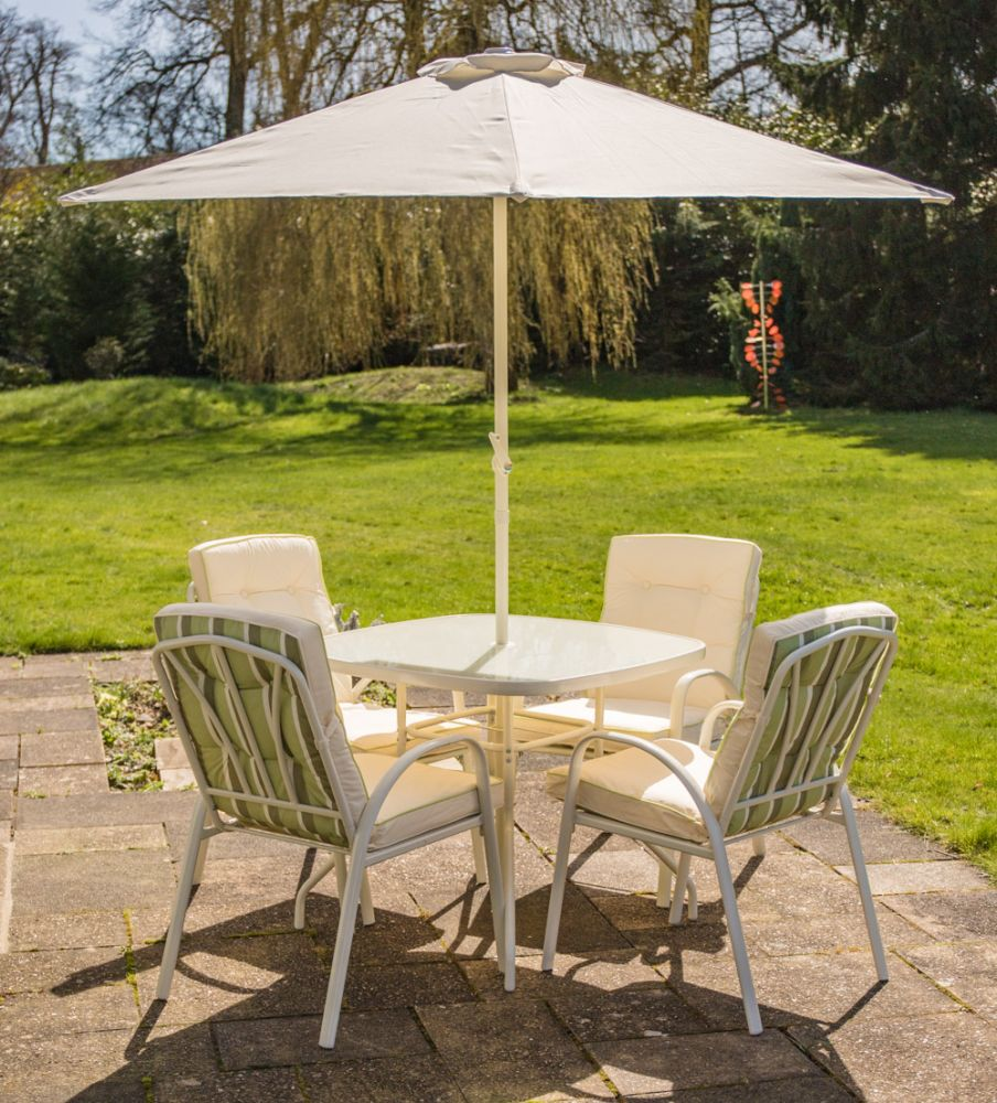 Hadleigh 4 Seater Garden Dining Furniture Set In White By
