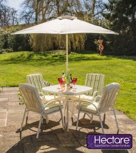 Hadleigh 4 Seater Garden Dining Furniture Set In White By Hectare™