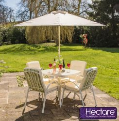 Hadleigh 4 Seater Garden Dining Set in Cream - by Hectare™
