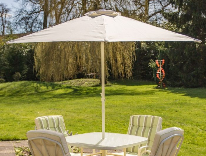 Hadleigh 2.1m Steel Crank Parasol In White By Hectare®