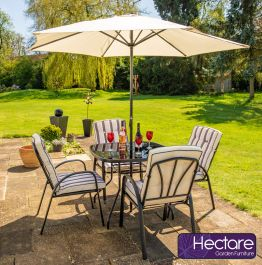 Hadleigh 4 Seater Square Garden Dining Furniture Set In Black By Hectare®