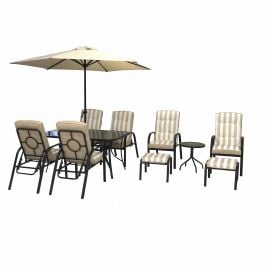 Hadleigh Reclining 6 Seater Garden Dining And Leisure Furniture Set In Beige By Hectare®