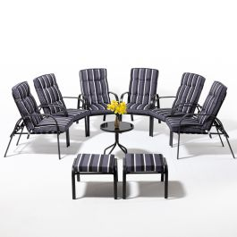 Hadleigh Coffee Table Set With 6 Reclining Armchairs And 2 Stools In Grey By Hectare™