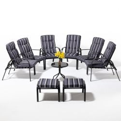 Hadleigh Coffee Table Set With 6 Reclining Armchairs And 2 Stools In Grey By Hectare®