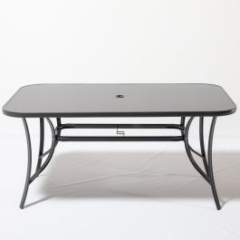 Hadleigh Rectangular Glass Topped Dining Table In Grey By Hectare™