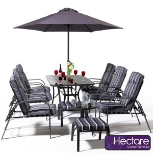 Hadleigh Reclining 6 Seater Garden Dining And Leisure Furniture Set In Grey By Hectare™