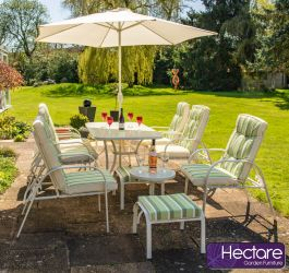 Hadleigh Reclining 6 Seater Garden Dining And Leisure Furniture Set In White By Hectare®