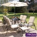 Hadleigh Reclining 6 Seater Garden Dining Set with Coffee Table and Stools by Hectare™