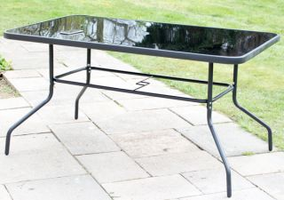 Hadleigh Rectangular Glass Topped Dining Table In Black By Hectare™