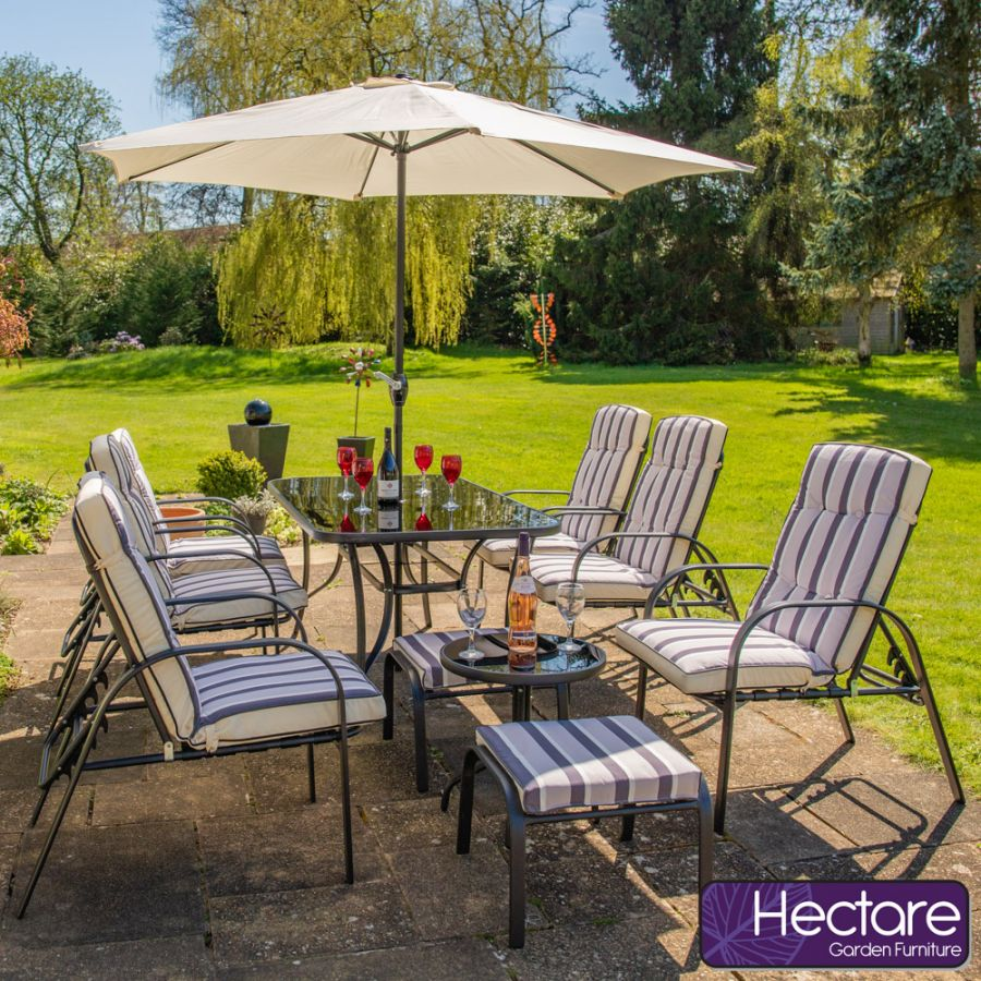 Hadleigh Reclining 6 Seater Garden Dining And Leisure Furniture Set In Black By Hectare®