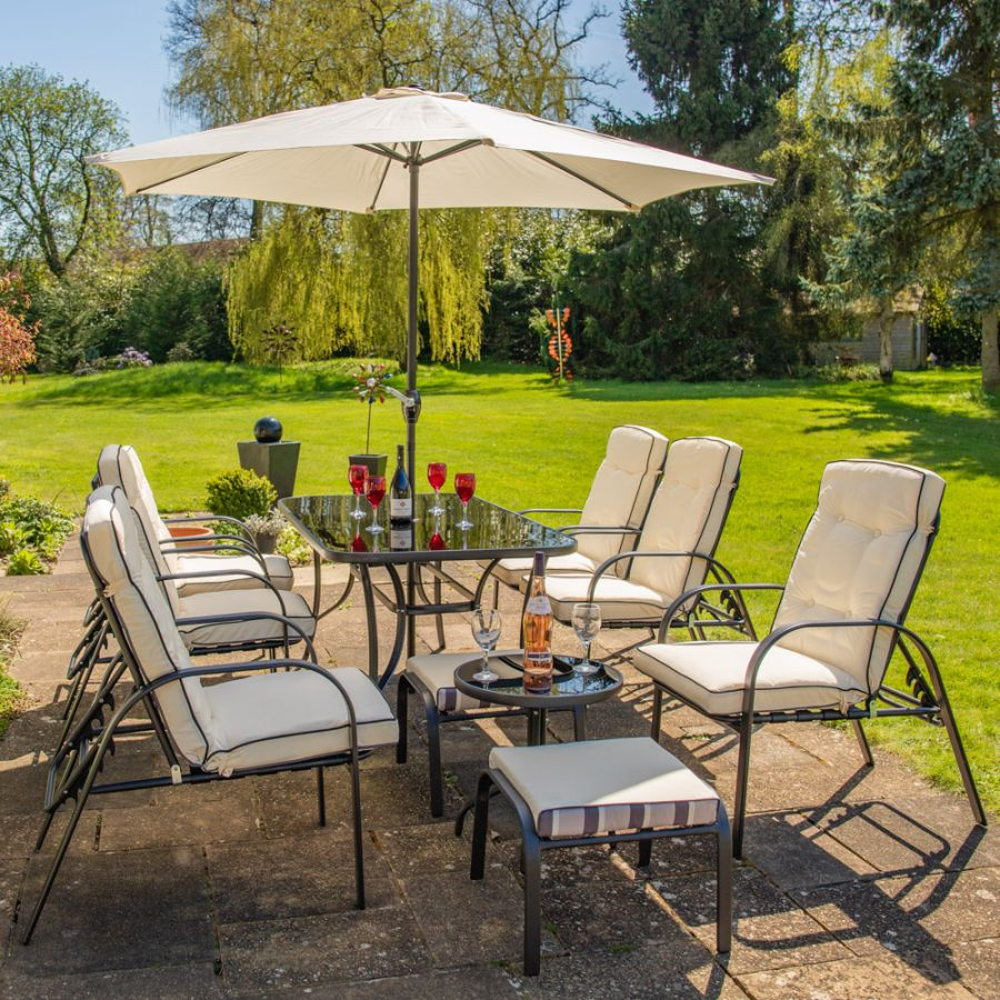 Outdoor Patio Sets Uk: Hadleigh Reclining 6 Seater Garden Dining And Leisure