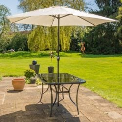 Hadleigh 3m Steel Crank Parasol In Ivory By Hectare™