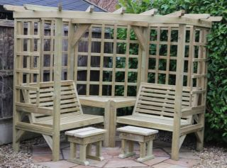 Clementine Four Seater Wooden Corner Arbour - 2.1m (6ft 10in)