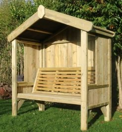 Cottage Garden Three Seater Wooden Arbour - 1.7m (5ft 6in)