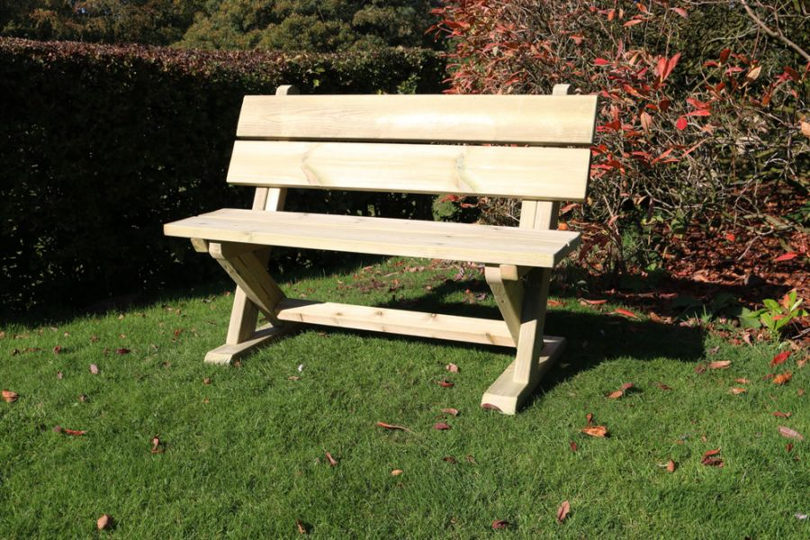 Ashcombe Wooden Two Seater Bench - 1.2m (3ft 11in)