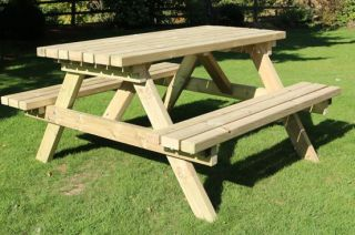 Delux Wooden Six Seater Picnic Table - 1.8m (5ft 10in)