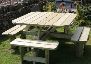Westwood Wooden Eight Seater Square Picnic Table - 2m (6ft 7in)