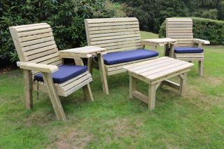Ergo Redwood Garden Seating & Coffee Table Set