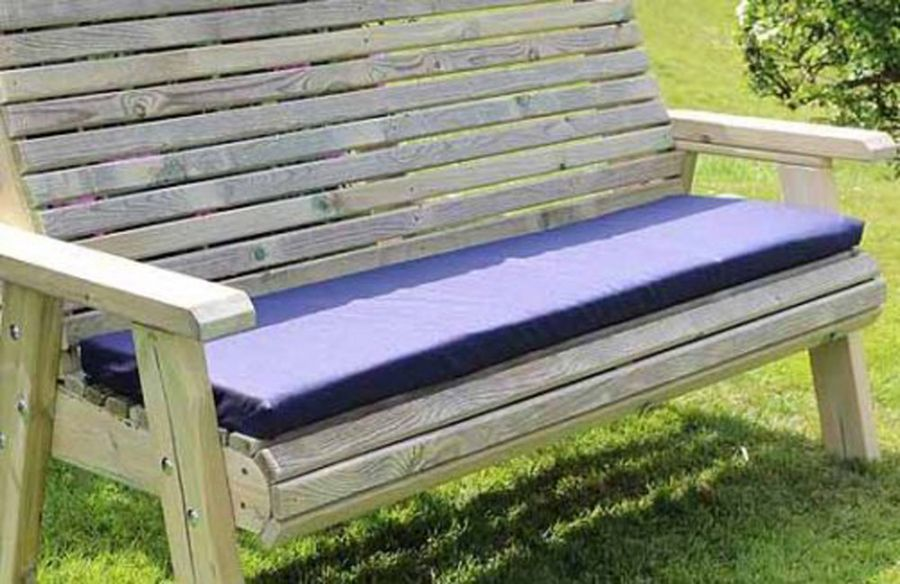 Navy Garden Bench Cushion - Triple