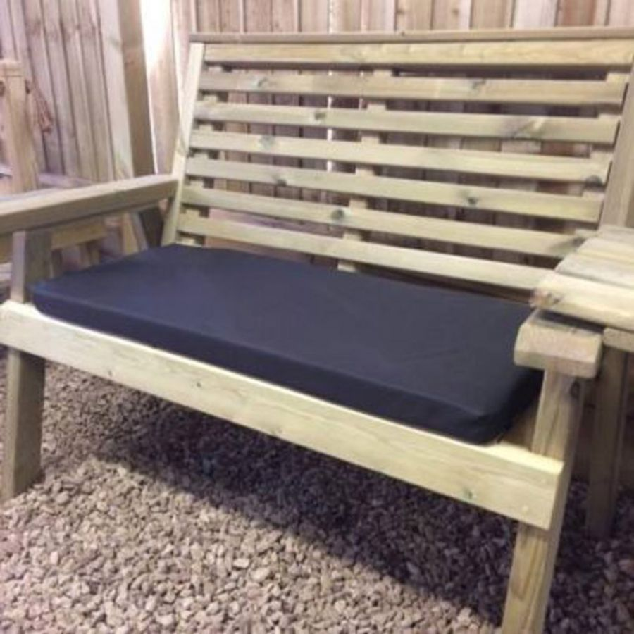 Black Outdoor Bench Cushion - Triple