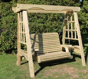 Cottage Wooden Two Seater Garden Swing - 1.85m (6ft)