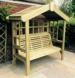Redwood Three Seater Cottage Arbour With Trellis - 1.9m (6ft 2in)