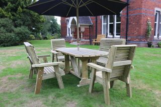Ergo Redwood Six Seater Garden Table & Chair Set With Bench - 2.9m (9ft 5in)