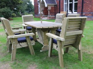 Ergo Redwood Six Seater Garden Table & Chair Set - 2.9m (9ft 5in)