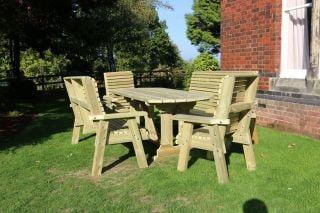 Ergo Redwood Eight Seater Garden Table & Chair Set With Bench - 2.9m (9ft 5in)