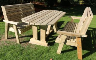 Ergo Redwood Six Seater Garden Table & Bench Set - 1.8m (5ft 9in)