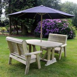 Ergo Redwood Four Seater Garden Dining Set - 1.37m (4ft 5in)