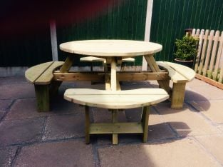 D2.05m Westwood Wooden Eight Seater Square Picnic Table by  Churnet Valley®