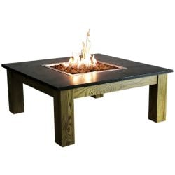 100cm Square Hardwood Gas Firepit Coffee Table