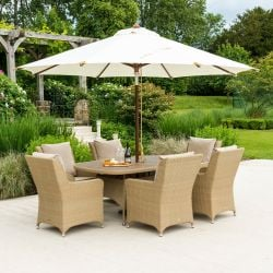 Alexander Rose Richmond Rattan 6 Seater Oval Garden Dining Set