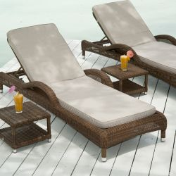 Alexander Rose San Marino Adjustable Rattan Lounge Chair with Side Table