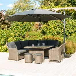Alexander Rose Monte Carlo Rattan 10 Seater Casual Dining Garden Set With Parasol