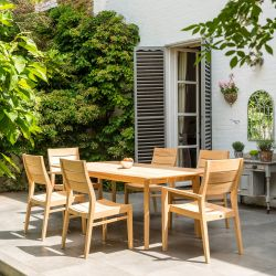 Alexander Rose Roble Wooden 6 Seater Rectangle Dining Garden Set