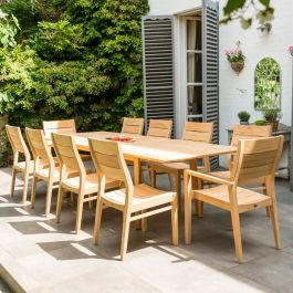 Alexander Rose Roble Wooden 10 Seater Rectangle Dining Garden Set