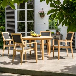 Alexander Rose Roble Wooden 4 Seater Round Dining Garden Set