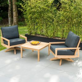 Alexander Rose Roble Wooden Set of 2 Swivel Garden Lounge Chairs