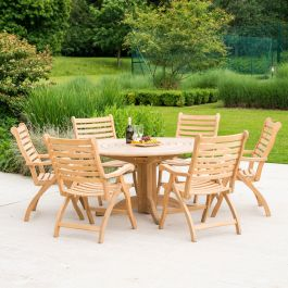 Alexander Rose Roble Wooden 6 Seater Round Foldable Chair Garden Dining Set
