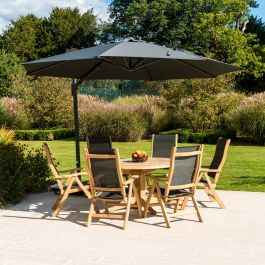 Alexander Rose Roble Wooden 6 Seater Round Garden Dining Set with 3.5m Parasol