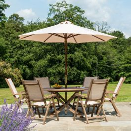 Alexander Rose Sherwood Wooden 6 Seater Round Garden Dining Set with 2.7m Parasol