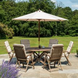 Alexander Rose Sherwood Wooden 6 Seater Round Recliner Chair Garden Dining Set with 2.7m Parasol