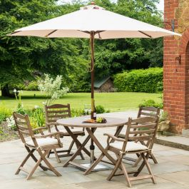 Alexander Rose Sherwood Wooden 4 Seater Round Foldable Chair Garden Dining Set with 2.7m Parasol