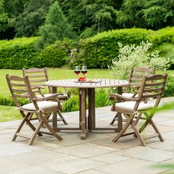 Alexander Rose Sherwood Wooden 4 Seater Round Foldable Chair Garden Dining Set