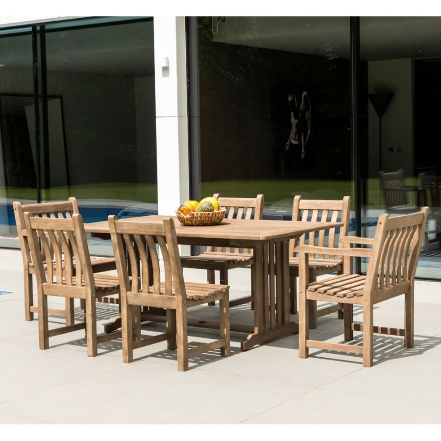 Alexander Rose Sherwood Wooden 6 Seater Rectangular Garden Dining Set