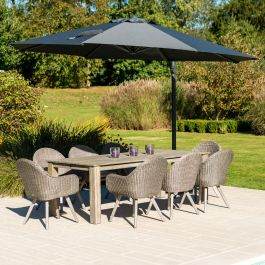 Alexander Rose Painted Acacia Wooden 8 Seater Rectangular Garden Set with 3.5m Parasol