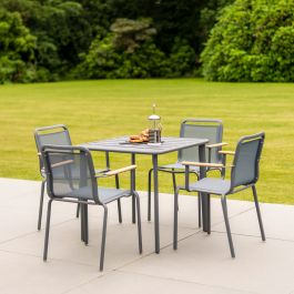 Alexander Rose Fresco Flint Aluminium 4 Seater Square Garden Dining Set
